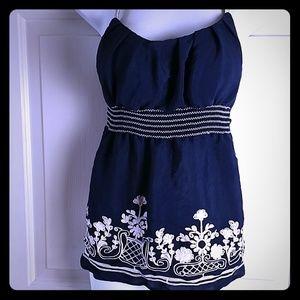 Heart soul M spaghetti top blue embroidered elasti